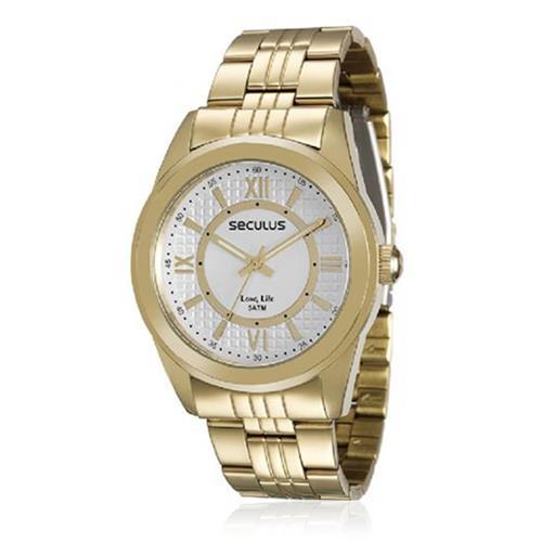 3cb14b05911 Relógio Masculino Seculus Long Life 28544LPSVDA1 Dourado
