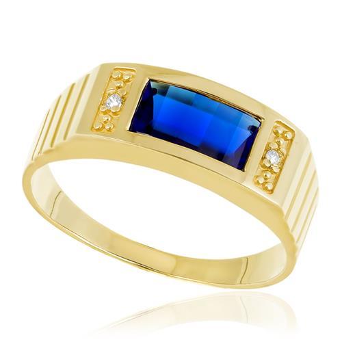 Anel com Cristal Azul Central, em Ouro Amarelo