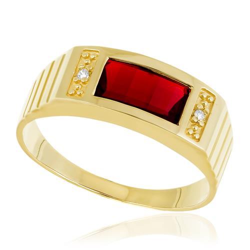 Anel com Cristal Vermelho Central, em Ouro Amarelo