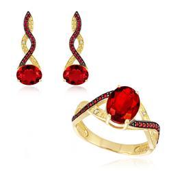 Conjunto Par de Brincos e Anel com Diamantes e Quartzo Rubi, Folheado a Ouro Amarelo