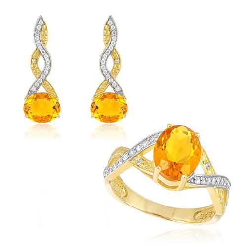 Conjunto Par de Brincos e Anel com Diamantes e Citrinos, Folheado a Ouro Amarelo