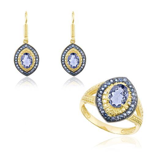 Conjunto Par de Brincos e Anel com 4 Diamantes e Cristais de Tanzanita, Modelo Navete