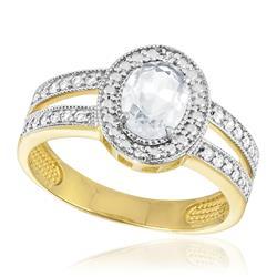 Anel com 2 Diamante e Cristal de Rocha, Modelo Oval