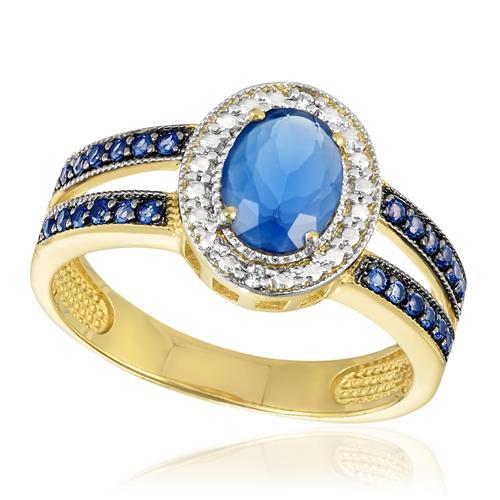 Anel com 2 Diamante e Cristal Safira, Modelo Oval com pedras