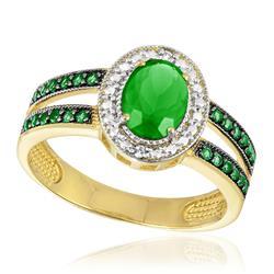 Anel com 2 Diamante e Cristal Jade, modelo Oval