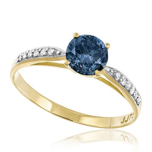 Anel Solitário com Diamante Azul de 1,0 Ct. e 12 Diamantes Laterais, em Ouro Amarelo
