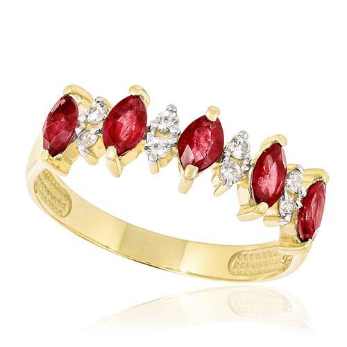 Meia Aliança com 8 Diamantes e 5 Rubis, em Ouro Amarelo