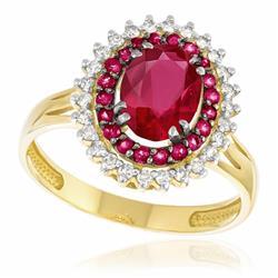 Anel com 26 Diamantes e 20 Rubis Laterais e Rubi Central de 1,10 Cts., em Ouro Amarelo