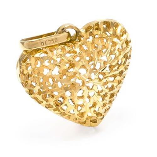 Pingente Coração Estilizado em Ouro Amarelo 18 Kilates