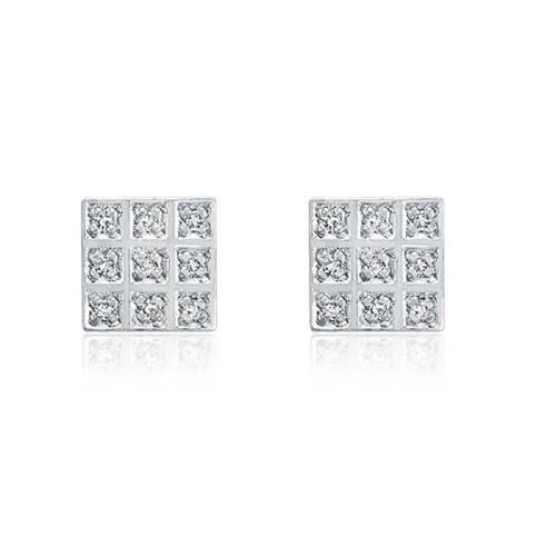 Par de Brincos com 18 Diamantes, Modelo chuveiro