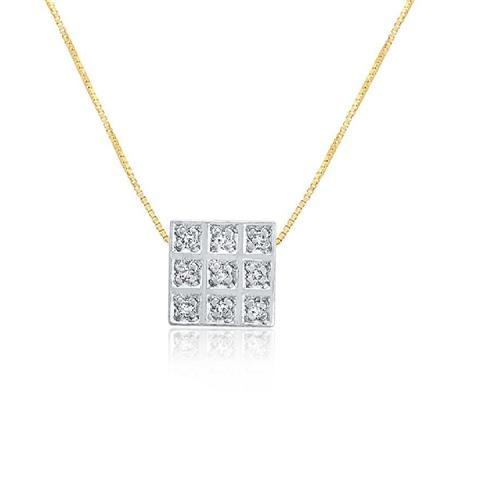 Pingente Quadrado com 9 Diamantes, modelo chuveiro