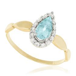 Anel com Diamantes totalizando 15 pts. e Turmalina Paraíba de 50 pts., em Ouro Amarelo