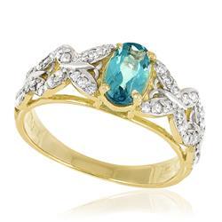 Anel com Diamantes totalizando 35 pts. e Turmalina Paraíba de 1,0 ct., em Ouro Amarelo