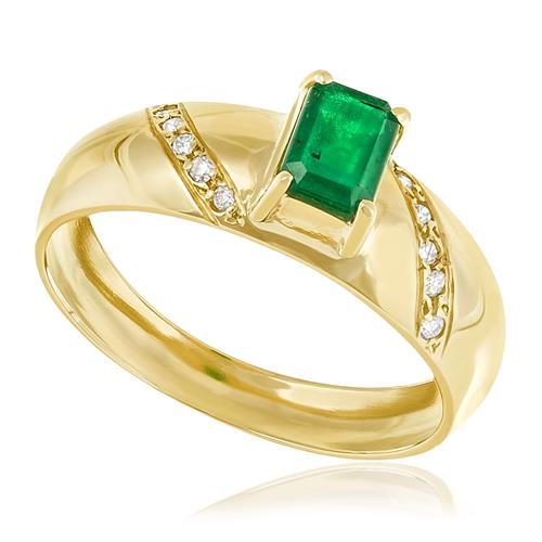 Anel com Diamantes totalizando 10 pts. e Esmeralda de 30 pts., em Ouro Amarelo