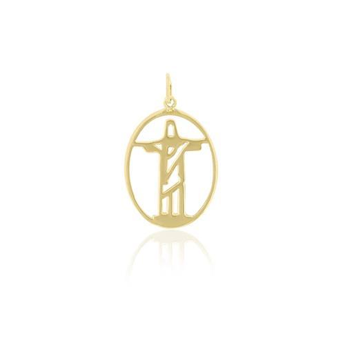 Pingente Cristo Redentor Vazado, em Ouro Amarelo