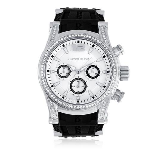 2b6eb0354 Relógio Victor Hugo Analógico VH10062LSS/04 Borracha | Joias Vip