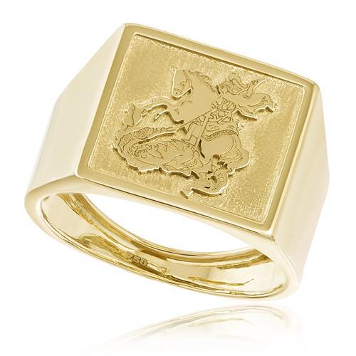 Anel Masculino Chapinha São Jorge em Ouro Amarelo