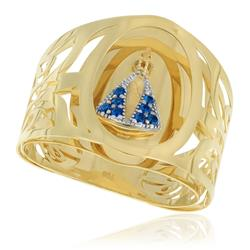 Anel Nossa Senhora com Zircônias Azuis, em Ouro Amarelo