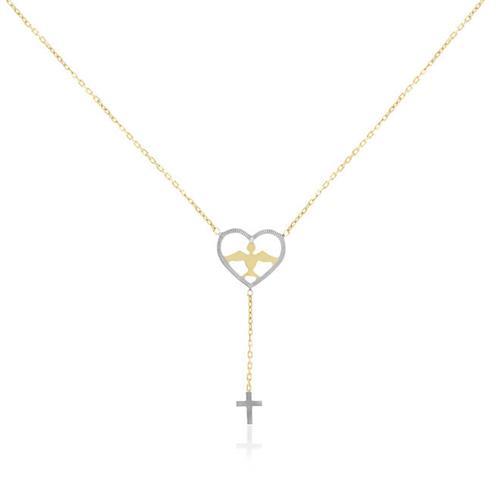 Gargantilha Elos Cartier com Espírito Santo e Cruz, em Ouro Amarelo