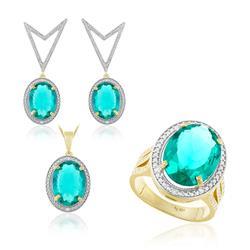 Conjunto com Diamantes e Cristal Turmalina Paraíba Oval, Anel, par de brincos e pingente