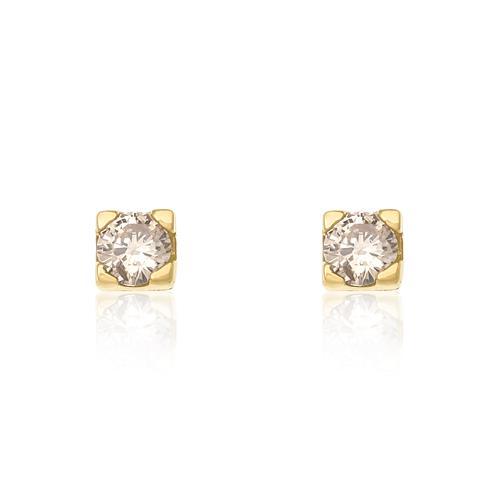 Par de Brincos Solitário com Diamantes totalizando 44 Pts, em Ouro Amare