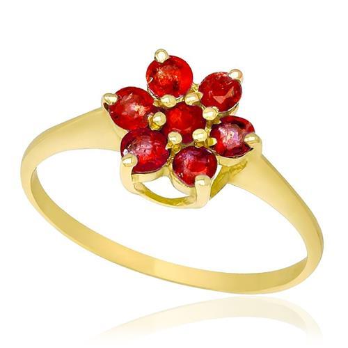Anel Flor com 7 Rubis, em Ouro Amarelo