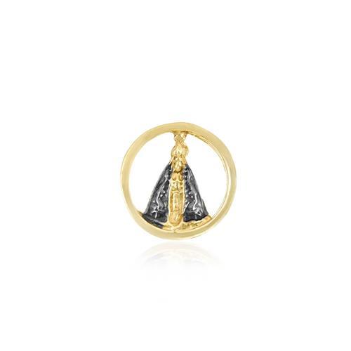 Pingente Nossa Senhora com detalhes em Ródio Negro, em Ouro Amarelo