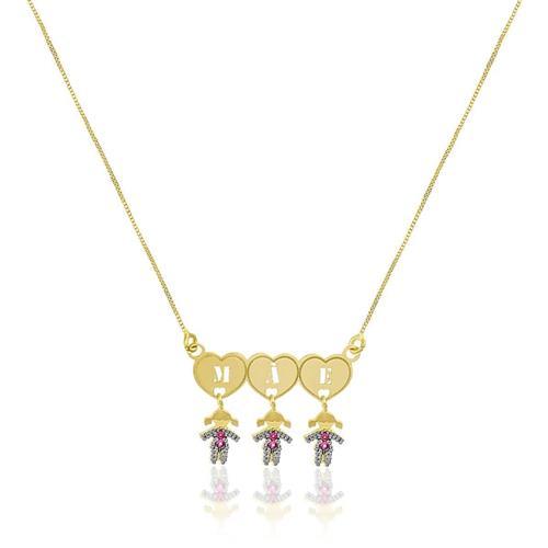Corrente com Pingente Mãe de 3 Meninas com Rubis, em Ouro Amarelo