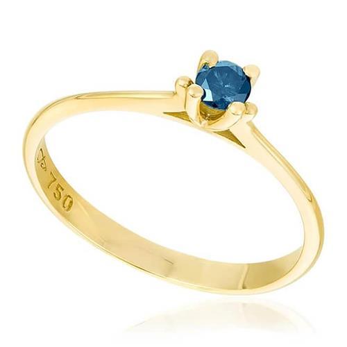 Anel Solitário com Diamante Azul de 15 Pts, em Ouro Amarelo