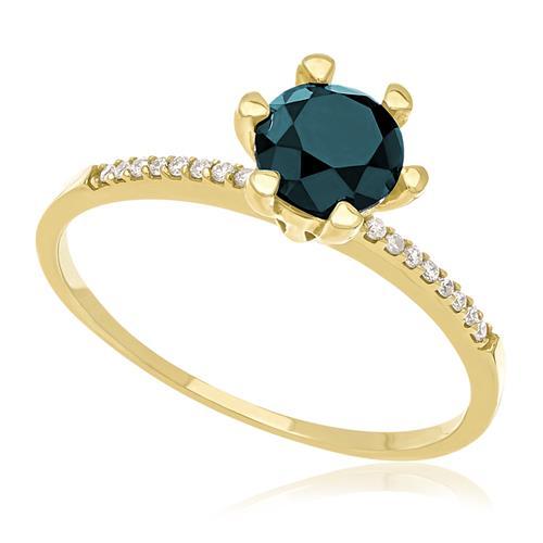09b58afdde0 Anel Solitário de ouro com Diamantes Laterais totalizando 10 pts. e Diamante  Azul de 70 pts.
