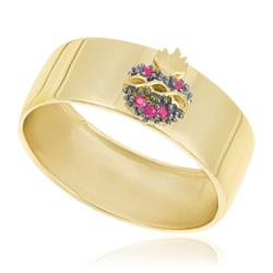 Anel Sagrado Coração com 5 Rubis, em Ouro Amarelo