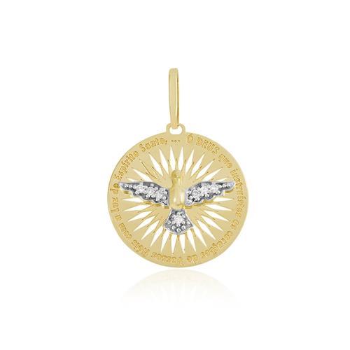 Pingente Espírito Santo com Diamantes em Ouro Amarelo