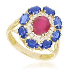 Anel com Diamantes, Safiras e Rubis, em Ouro Amarelo