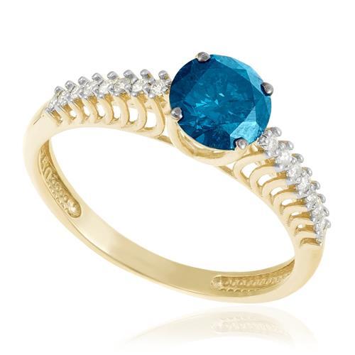 fc4166e1bc48f Anel de Ouro Solitário com 14 Diamantes laterais e Diamante Azul de 70 pts.