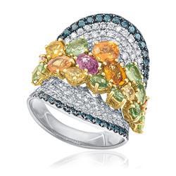 Anel com Diamantes, Diamantes Azuis e Safiras Coloridas, em Ouro Branco
