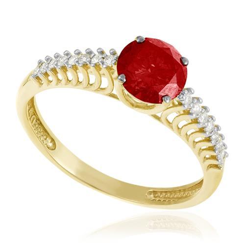 b99cfc600295d Anel de Ouro Solitário com 14 Diamantes Laterais e Rubi de 1,22 Cts.