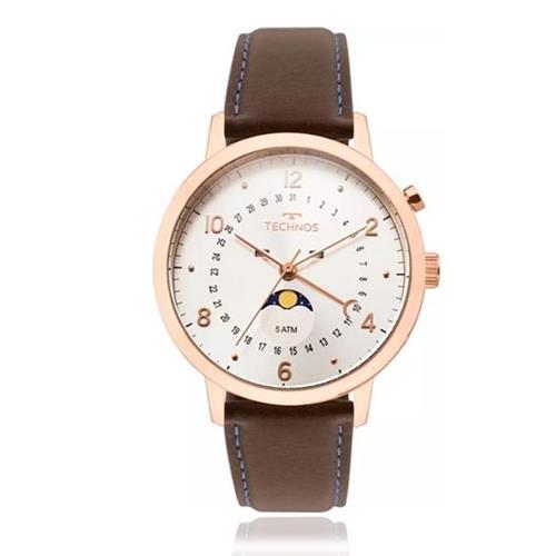 Relógio Masculino Technos Analógico 6P80AD 2B Couro Marrom 2f4c790fe4