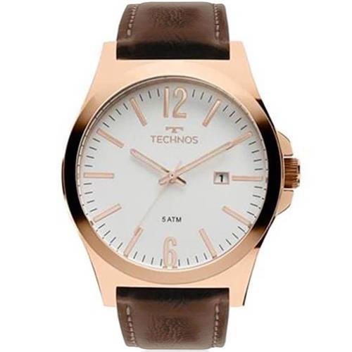Relógio Masculino Technos Analógico 2115MMU 5B Couro Marrom   Joias Vip 30923372f6