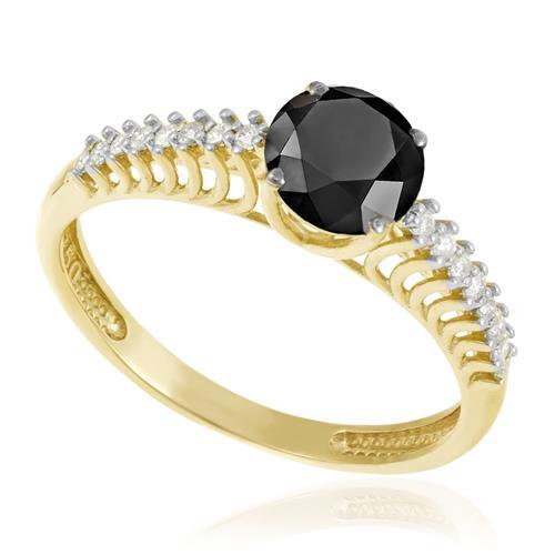 Anel Solitário com 14 Diamantes Laterais e Diamante Negro de 1,45 Cts., em Ouro Amarelo