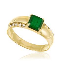 Anel com Diamantes com totalizando 10 pts. e Esmeralda de 45 pts., em Ouro Amarelo