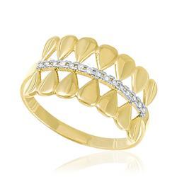 Anel Trabalhado com 15 Diamantes em Ouro Amarelo