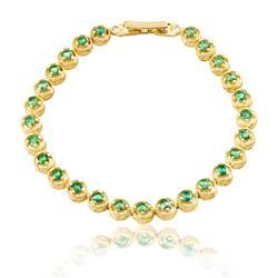 Pulseira com 2 Diamantes e Esmeraldas modelo redondo