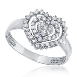 Anel Coração com 46 Diamantes, em Ouro Branco