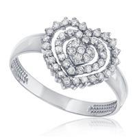 Anel de Ouro Branco modelo Coração com 46 Diamantes