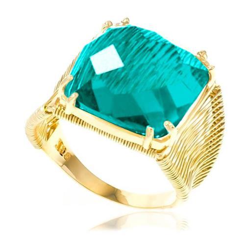 Anel Aramado com Cristal Turmalina Paraíba, em Ouro Amarelo