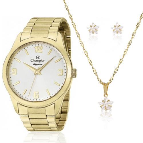 Relógio Feminino Champion Elegance CN26153W Kit Colar e Par de Brincos