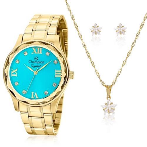 Relógio Feminino Champion Crystal CN27465Y Kit Colar e Par de Brincos