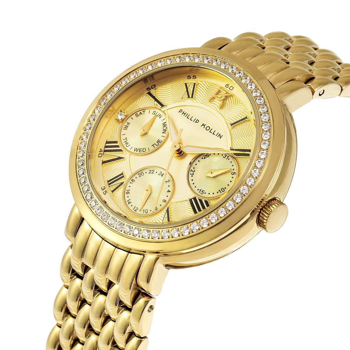 fc92e3d2886 Relógio Feminino Phillip Kollin Genova ZY28181G All Gold