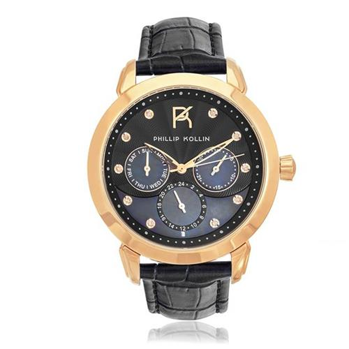 Relógio Feminino Phillip Kollin Islands ZY28109P Rose Black Diamond