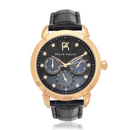 Relógio Feminino Phillip Kollin Islands ZY28109P Rose Black Diamond